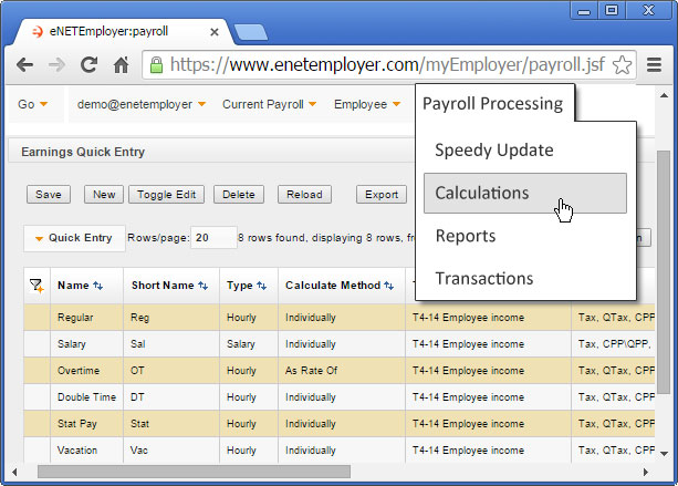 payroll module with payroll processing menu
